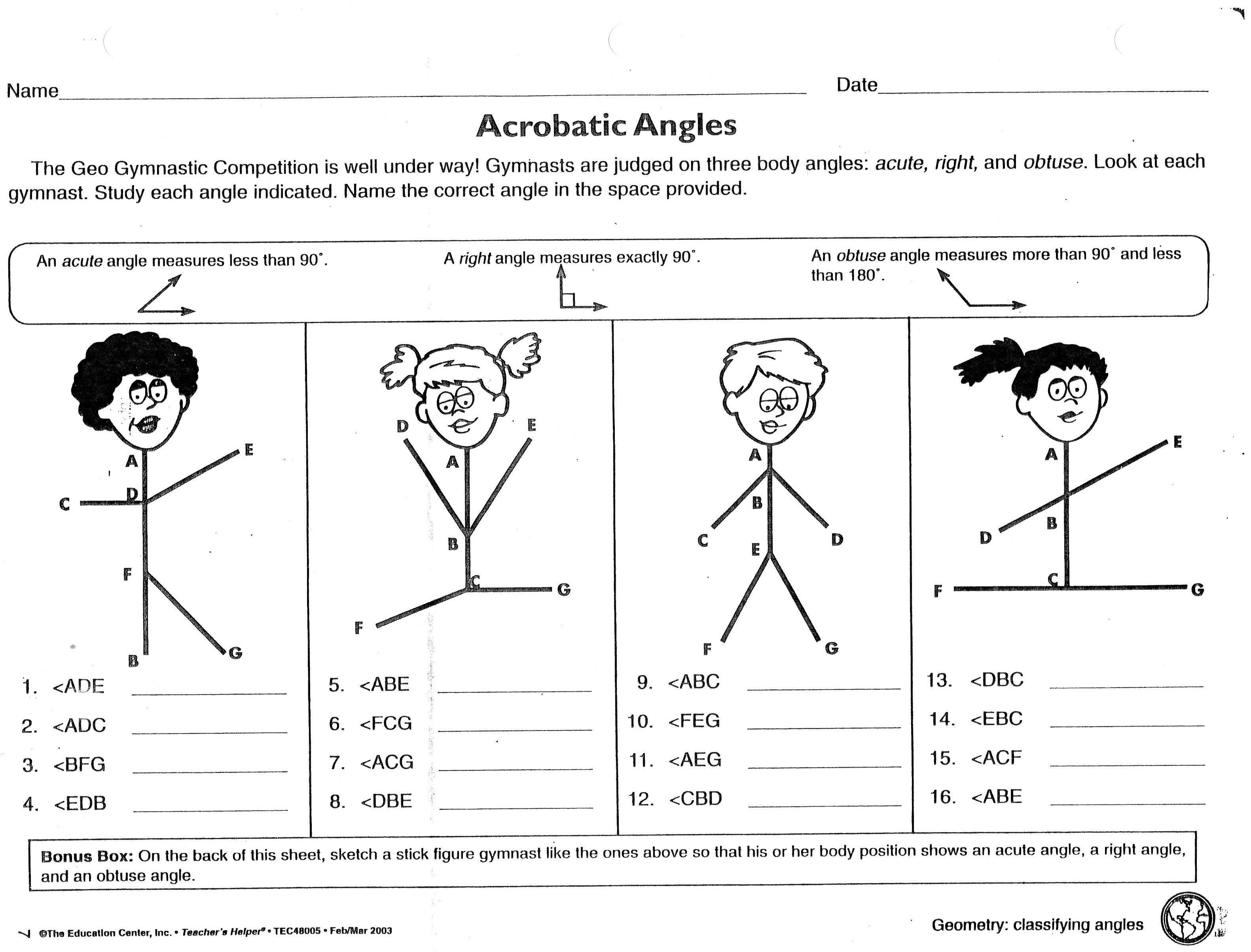 Worksheets Classifying Angles Worksheet phase iii acrobatic angles worksheet jpg