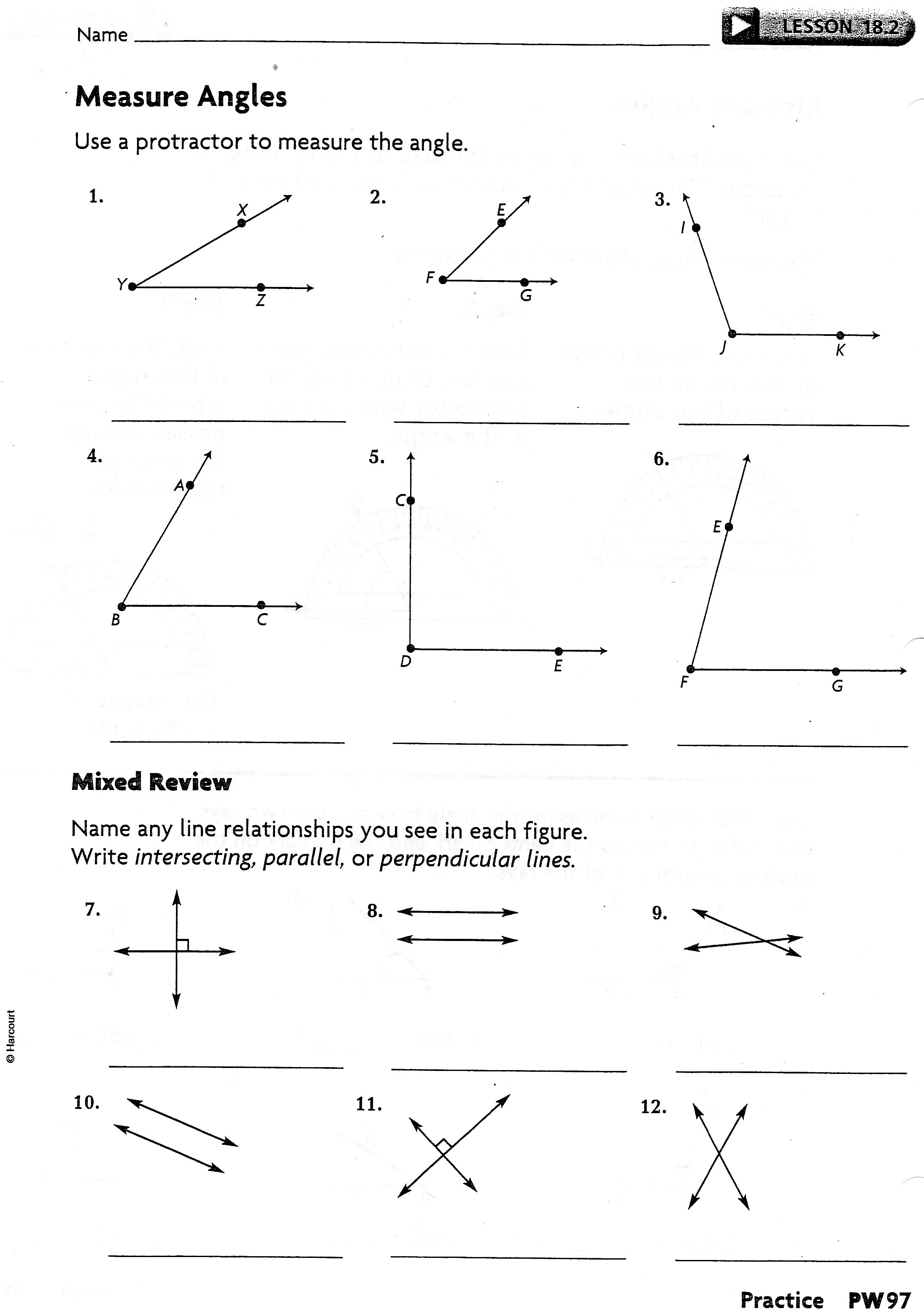 Worksheets Measuring Angles With A Protractor Worksheets phase iii lesson 18 2 practice worksheet jpg